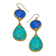 Janna Conner Designs Cobalt and Turquoise Aurelie Earrings ($145) ❤ liked on Polyvore