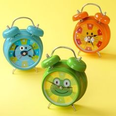 "Talking animal alarm clocks: Blue Dog says ""Ruff-ruff, ruff-ruff"" Green Frog says ""Ribbit-ribbit-ribbit"" Orange Cat says ""Meow, meow"" Cute Clock, Cool Clocks, Clock For Kids, Kids Clocks, Thought Bubbles, Daylight Savings Time, Baby Store, Crate And Barrel, Decoration"