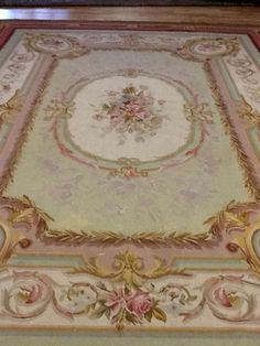Large Antique French Aubusson Rug Pink & Green Rug 10' x 14' from antiquedesigns on Ruby Lane