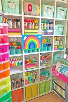Kindergarten Classroom Decor, Classroom Setup, Art Classroom, Classroom Activities, Craft Organization, Craft Storage, Classroom Organization, Rainbow Theme, Rainbow Art
