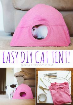 A dollar-store T-shirt — plus items found around the home — are all you need to make a comfy cat tent. 75 Clever Dollar Store Ideas That Will Have You Saying, Diy Cat Toys, Dog Toys, Dollar Store Crafts, Dollar Stores, All You Need Is, Diy Old Tshirts, Crayon Organization, Cat Tent, Budget