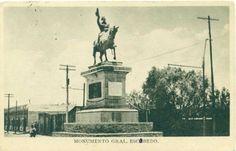 monumento al General Mariano Escobedo, Calzada Madero y Zaragoza, fecha aprox 1923  fuente: blog de Fermín Téllez  http://fermintellez.blogspot.mx/2011/01/hoy-en-la-historia-mariano-escobedo.html