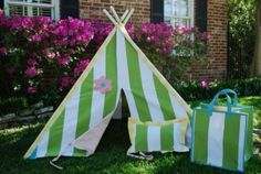 Helen Play Tent by Lucy And Michael. $320.00. Design Elements: Stripes. Primary Color: Green. Usually ships in 3-5 days5' square x 5' tallThe Helen Play Tent features a bright green vertical stripe with pink flower, yellow and white pole piping and door flap. Children love the lined doors and paned windows in each lucy & michael play tent. Parents love giving their children an heirloom-quality toy that requires no whistles or lights to delight. And children are amused...