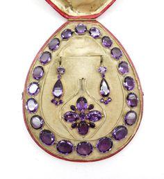 Amethyst jewelry set, 1800s.