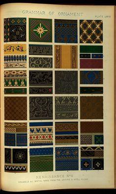 - The Grammar of Ornament, by Owen Jones. via the Smithsonian Owen Jones, Ornaments Design, Italian Art, Decorative Objects, Blackwork, Cross Stitch Embroidery, Grammar, The Borrowers, Metal Working