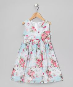 Take a look at this Aqua Rose Surplice Dress - Toddler & Girls by Dimples on #zulily today!