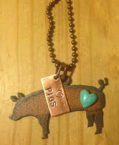 Rustic Rusty Rusted Recycled Metal Pig Sow Swine Show FFA Heart Pigs Necklace