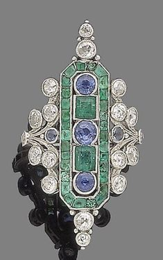 Emerald Earrings – Vintage Brass jewelry – Art Deco Earrings – Emerald Green…