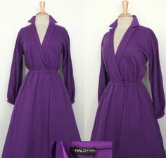 RARE Vintage 70s Halston Raspberry Purple Wool Jersey Swing Wrap Dress by GGMMVintage, etsy