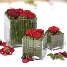 Mini bamboo centerpieces