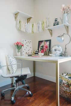 My sparkly home office in our little apartment. Featured on Style Me Pretty Living!