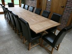 Natural Beech Oak Plywood Long Dining Table For 14 Person With Black  Leatheru2026
