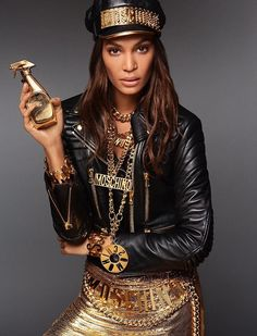 Joan Smalls Shines in Gold for New Moschino Fragrance Campaign - Joan Smalls fronts Moschino Fresh Gold Couture fragrance advertising campaign - Fashion News, Fashion Models, High Fashion, Moschino, Couture Perfume, Barbie, Mens Boots Fashion, Joan Smalls, Young Fashion