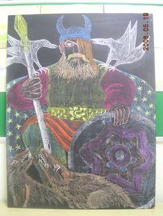 Waldorf ~ 4th grade ~ Norse Mythology ~ Odin ~ chalkboard drawing