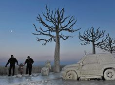 Frozen spray from Lake Geneva entombs cars, trees, and a promenade during a severe cold spell in February 2012. An unusual dip in the polar jet stream, which looped as far south as Africa, brought Arctic air and deep snows to Europe, killing several hundred people.