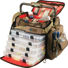 Wild River® Frontier Lighted Tackle Bag Top zippered compartment with adjustable dividers Includes five 3700-series trays Rotating grip features built-in LED light Side pockets for increased storage