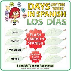 Spanish Flash Cards – Days of the weekin Spanish - Tarjetas conlos días de la semanaen español
