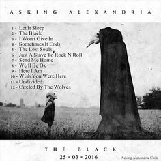 """I will be doing an interview on this album. Including Asking Alexandria in one of my double page spreads it will be based on """" New Album Out March I added this photo because this album cover will be shown in my double page spread. Asking Alexandria Albums, Asking Alexandria Tour, Asking Alexandria The Black, Emo, Ben Bruce, Cool Album Covers, Falling In Reverse, Motionless In White, Black Artwork"""