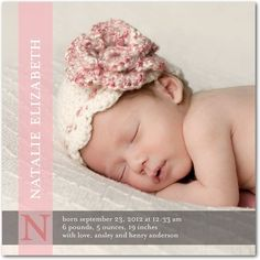 Girl Photo Birth Announcements Bold Introduction - Front : Rose