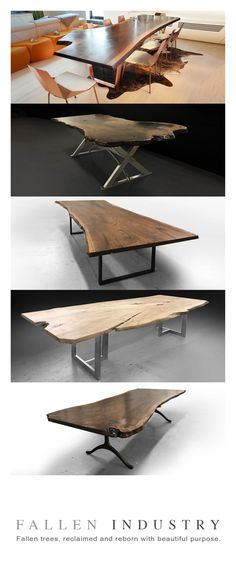 Live edge dining tables made from natural wood slabs. Reclaimed and reborn with beautiful purpose.