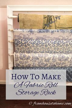 Have some rolls of fabric that you need a better way to store? Find out how to make a fabric roll storage rack that looks good and is easy to access. Craft Room Storage, Shed Storage, Fabric Storage, Storage Rack, Craft Rooms, Fabric Display, Art Storage, Workshop Storage, Fabric Boxes