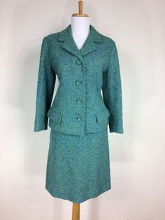Vintage 1960s Blue Green Irish Wool Tweed Mod Dress Suit Size S M #ColetteModesDublin