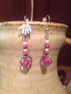 Siler hearts with some beautiful hot pink beads.!