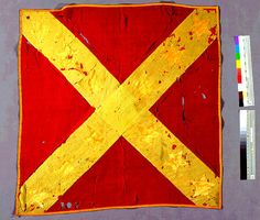 1st Texas Infantry, Hood's Brigade, Army of Northern Virginia (ANV) pattern battle flag (classic Saint Andrews cross on red field)