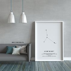 Cancer Star Constellation, Printable Art, Black and White, Instant download, Wall Poster, Astronomy, Navigation, Zodiac Sign, Gift Virgo Star Constellation, Star Constellations, Printable Art, Printables, Black And White Drawing, Art File, Poster Wall, Astronomy, Zodiac Signs