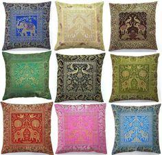 Moroccan Home Decor Ideas by Decor Snob : 10 Pc Lot Square Silk Home Decor Cushion Cover, Indian Silk Brocade Pillow Cover , Handmade Banarsi Pillow Cover 16 X 16 Inch Handmade Pillow Covers, Handmade Pillows, Decorative Pillow Covers, Decorative Cushions, Linen Pillows, Throw Pillow Cases, Cushions On Sofa, Sofa Throw, Indian Pillows