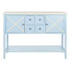 Light blue poplar credenza with a criss-cross design.   Product: CredenzaConstruction Material: PoplarColor: Light blue and whiteDimensions: 34.2 H x 45.8 W x 14.9 D