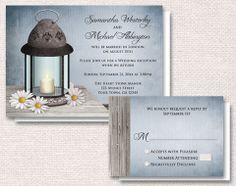 Rustic Lantern Daisy Reception Only Invitations and RSVP, in blue or green – Artistically Invited