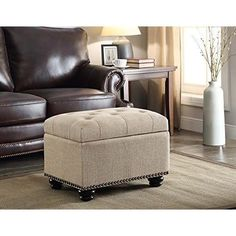 Square Tufted Ottoman Storage Fabric Upholstered Footstool Bench Trunk Furniture #ConvenienceConcepts #FootstoolBenchTrunk