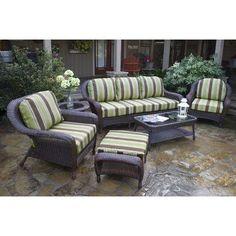 Darby Home Co Fleischmann 6 Piece Seating Group with Sofa Finish: Mojave, Fabric: Sunbrella Spectrum Cilantro