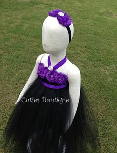 Black Tutu Dress With Purple Flowers Wedding by CutiesBoutique, $52.00