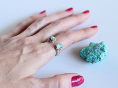 Turquoise Ring, Turquoise Silver Ring, Raw Turquoise Ring, Bohemian Ring, Hippie Ring, Southwest Ring by NaturefyingJewelry on Etsy