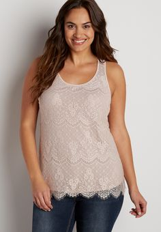 plus size lace tank in pink chalk (original price, $29.00) available at #Maurices