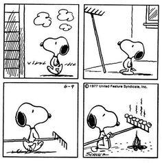 I love how Snoopy roasts his marshmallows.