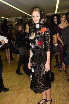 Anna Ewers Backstage at Dolce & Gabbana Fall 2014