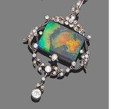 A belle époque black opal and diamond pendant necklace