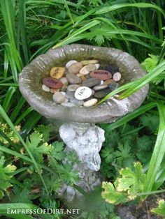 Garden art.  Use a broken bird bath, or other container, to load up with meditation stones. Could even put in sea shells.