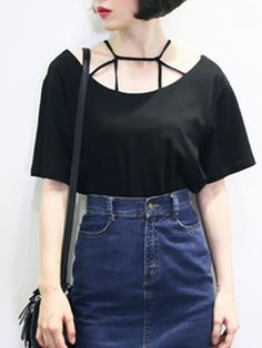 Black Strappy Short Sleeve Loose T-shirt