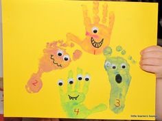 Monster hand/feet prints @Katie Underwood Demick for a craft day?