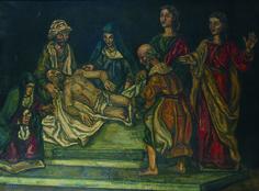 JOSÉ GUTIERREZ SOLANA, Tallas de la Piedad, Óleo sobre lienzo, 106 x 141 cm.