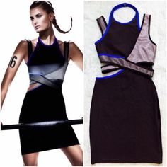 Alexander Wang X H&M Black, Blue Cut-Out Dress As seen on H&M website. ALEXANDER WANG x H&M Exclusive Collection. Sporty & Fitted High-Neck Black Dress with Geometric Cut-Out Sides. Royal Blue Trim Detail with Silver & Black Pattern Wrap-Style Sections at Front and Back with Wide Shoulder Straps. Size Large or US Size 8. NWOT.  Alexander Wang Dresses