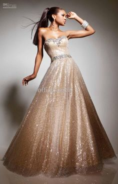 Prom Dress - Champagne Ball Gown Sequins Prom Dresses Gown Wtih Organza And Appliques 113513,