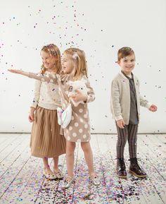 Lublue Christmas Guide. Party wear for children. Amber Benjamin top + Benebene Pipi Dot dress + Golden zip-up top and Baseball leggings + Allo Cotton Cotton Merigold skirt