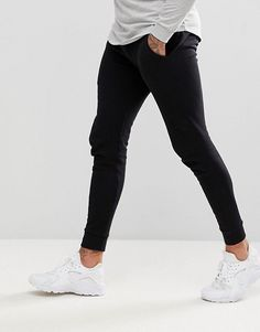 Buy ASOS DESIGN super skinny joggers in black at ASOS. With free delivery and return options (Ts&Cs apply), online shopping has never been so easy. Get the latest trends with ASOS now. Mens Joggers Sweatpants, Skinny Joggers, Black Joggers, Black Jeans, Jogger Pants, Nike Air Pegasus, Lightweight Jacket, Stylish Men, Super Skinny