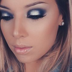 Navy silver cool toned halo eyeshadow Pinterest: Annevxo