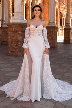 crystal design 2017 bridal long bishop sleeves sweetheart neckline heavily embellished bodice elegant lace sheath wedding dress a line overskirt corset back chapel train (camilla) mv -- Beautiful Wedding Dresses from the 2017 Crystal Design Collection Dream Wedding Dresses, Bridal Dresses, Lace Wedding, Elegant Wedding, Trendy Wedding, Fantasy Wedding, Wedding Ceremony, Wedding Dress Cape, Cape Dress